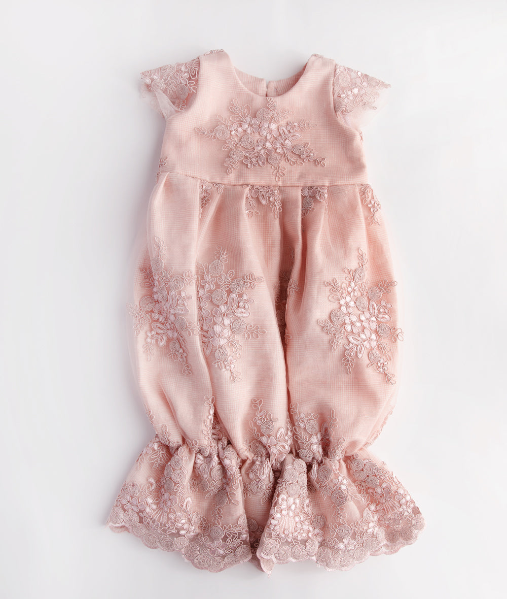 Blush Scalloped Lace Virginia Bunting Gown