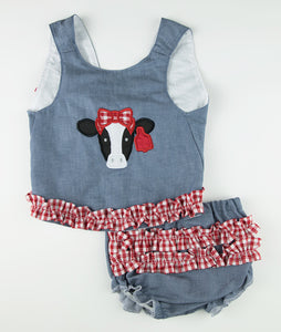 Chambray and Red Check Cow Applique Lexi Top and Bloomer