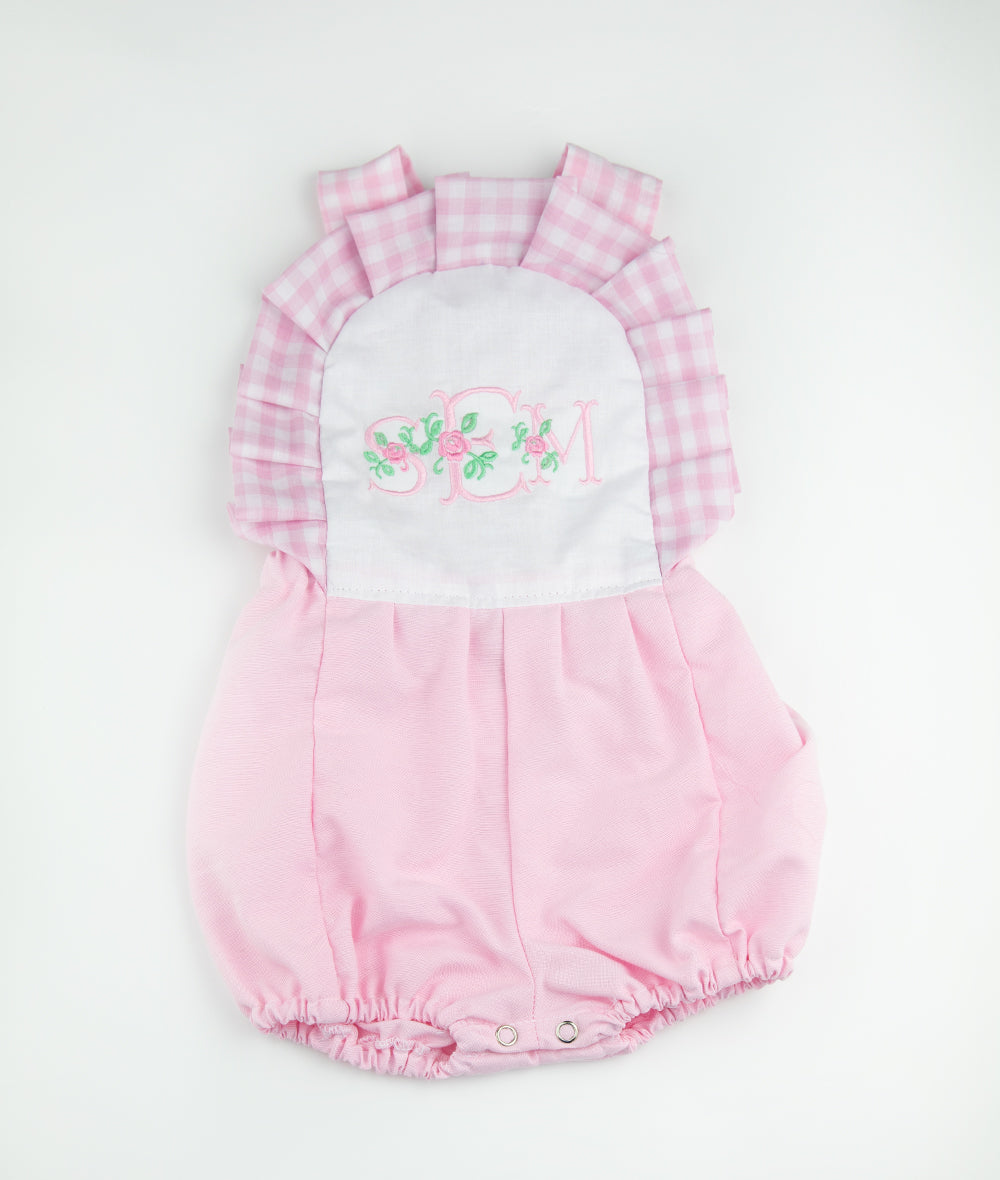 White & Pink Gingham Personalized Elsie Romper