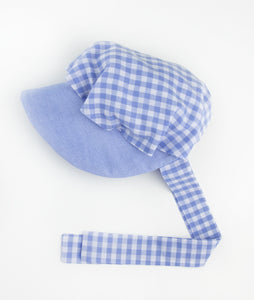 Blue Oxford & Gingham Button Bonnet