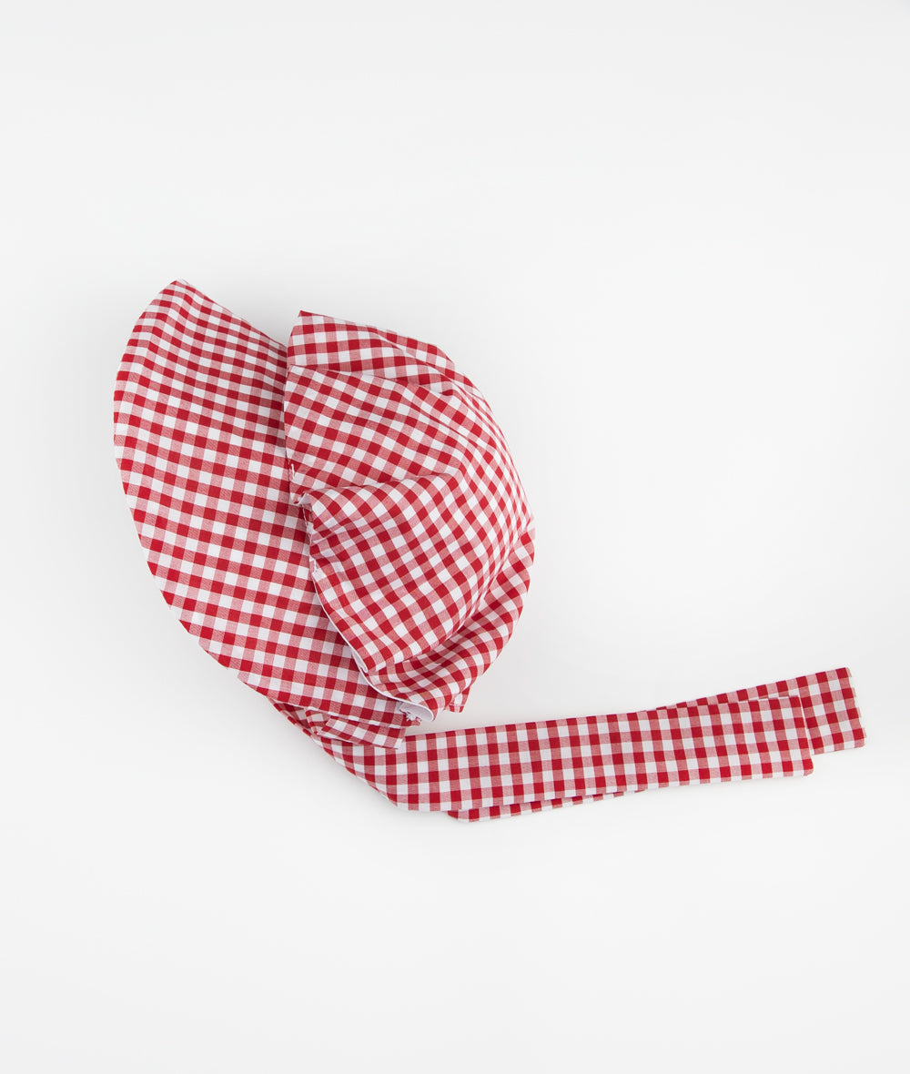 Red & White Oxford Gingham Button Bonnet