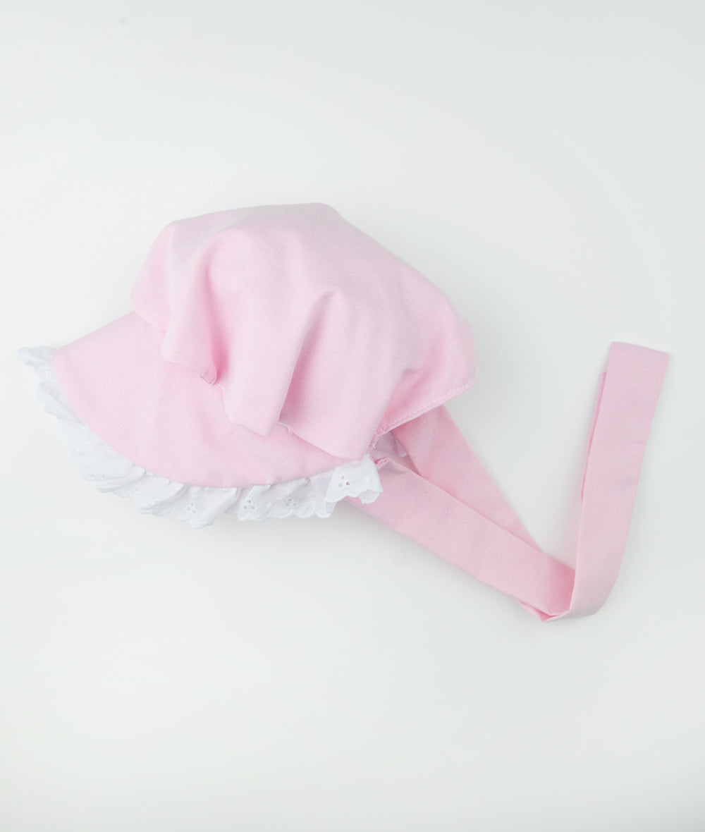Copy of Pink & white Lace Gathered Bonnet