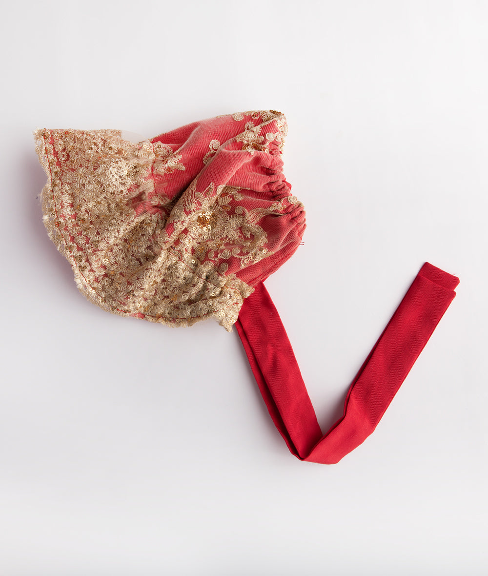 Red Taffeta & Gold Lace Gathered Bonnet