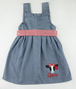 Chambray & Red Checkered Cow Applique Kelly Dress