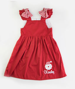 Red Santa Applique Bow Kelly Dress