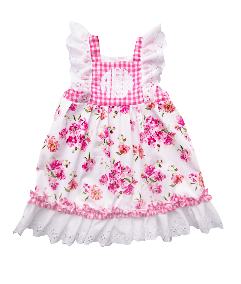 Hot Pink Gingham & Blossom Personalized Kelly Dress