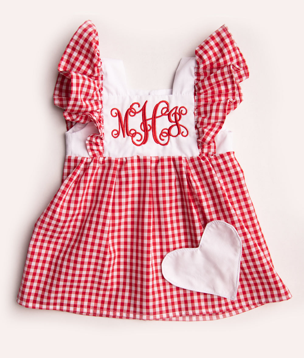 Red & White Checkered Monogrammed Pinafore Dress