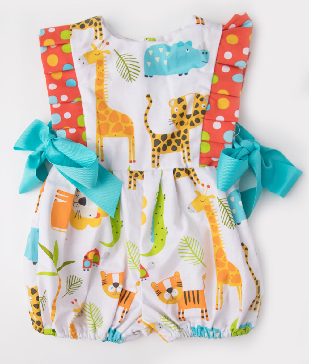Orange & Blue Zoo Animal Dallas Romper