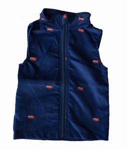 Royal Blue Corduroy & Football Zipper Vest