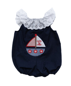 Personalized Navy & Gingham Sailboat Elena Romper
