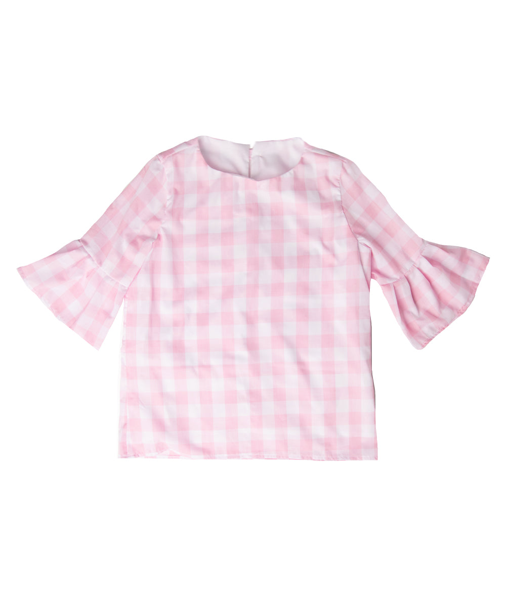 Pastel Pink Gingham Lacey Blouse