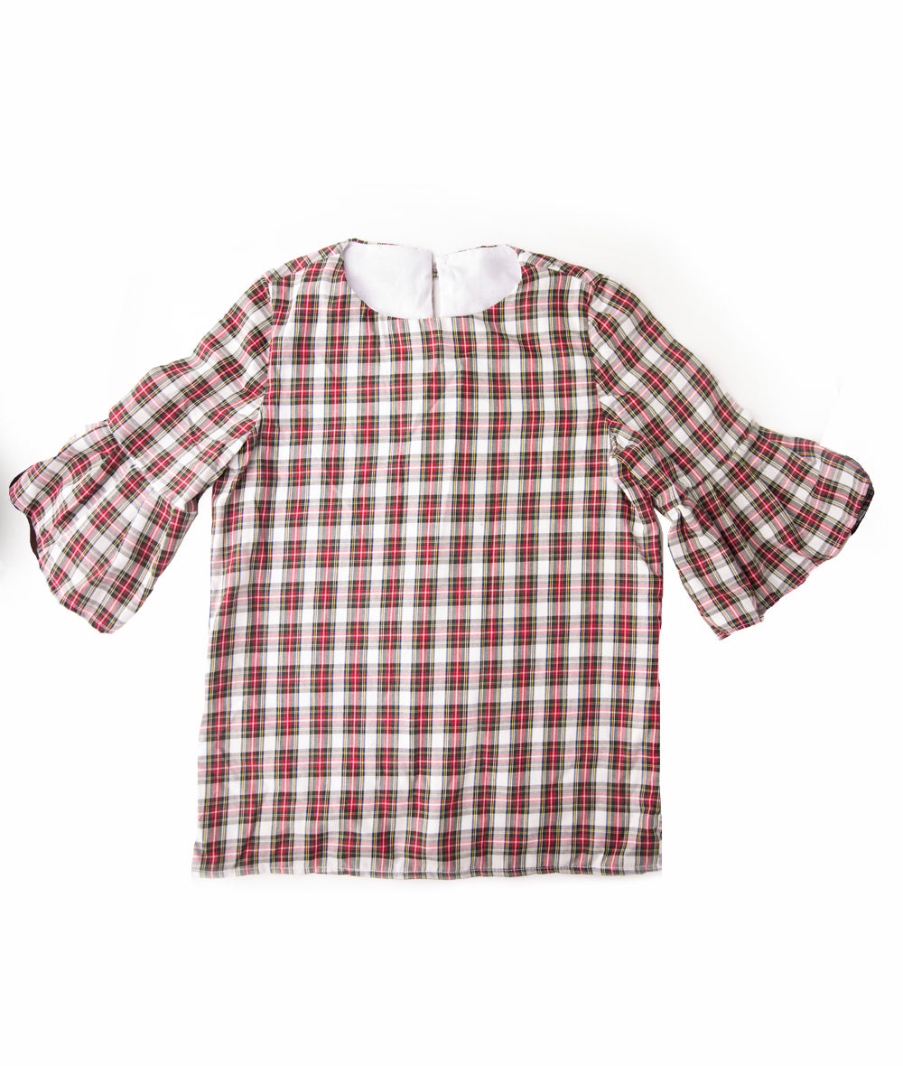 White & Red Plaid Lacey Blouse
