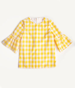 Yellow Gingham Lacey Blouse