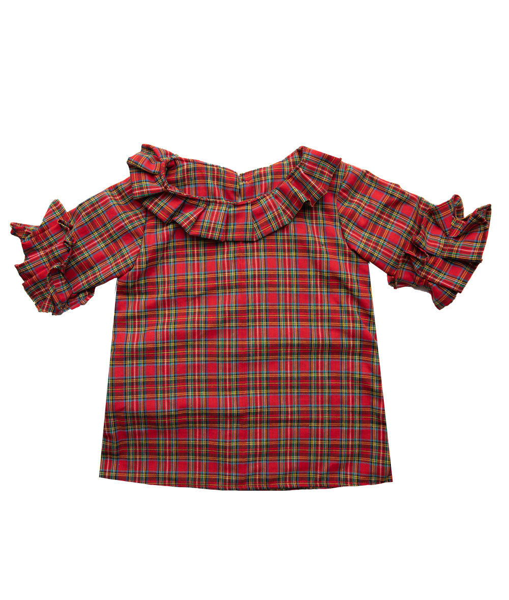 Red Tartan Martha Girl's Top