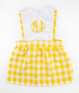 White & Yellow Gingham Initials Izzy Jumper