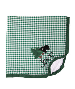 Personalized Black Bear & Green Check Baby Blanket