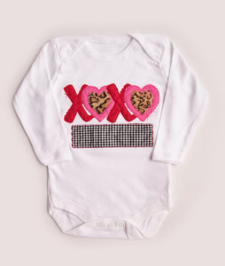 "Red & Pink ""X"" ""O"" Heart Applique Shirt or Onesie"