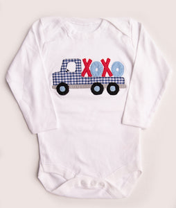 "Red & Blue ""X"" ""O"" Truck Applique Shirt or Onesie"