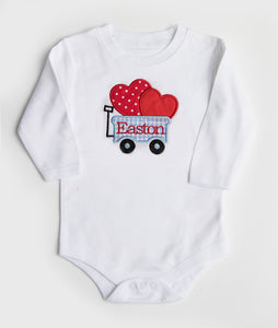 Blue & White Check Wagon Applique with Red Name Shirt or Onesie