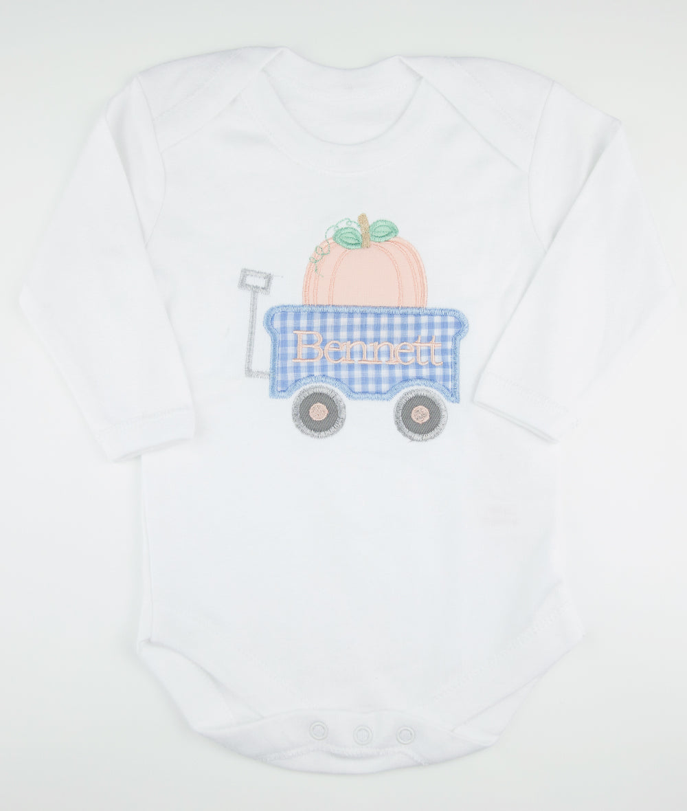 Blue Check Pumpkin Wagon & Name Bodysuit or Shirt
