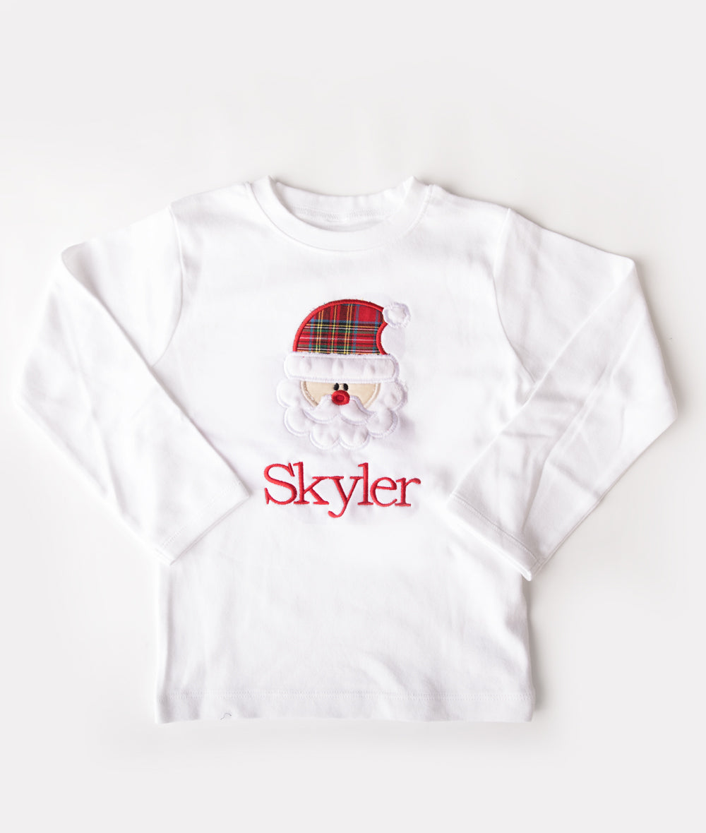 Personalized Red Tartan Santa Applique Shirt or Onesie