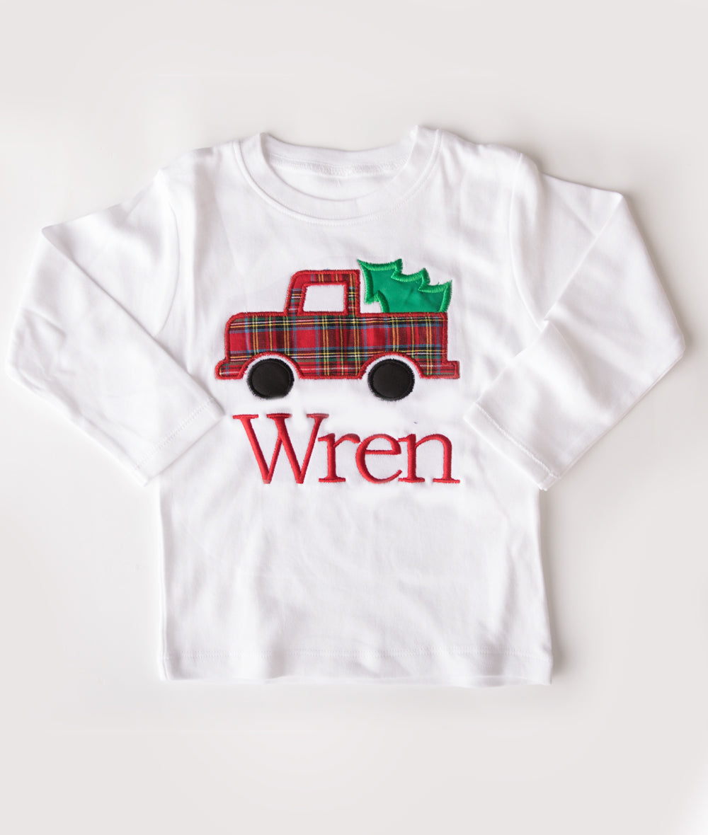 Personalized Red Tartan Tree Truck Applique Shirt or Onesie