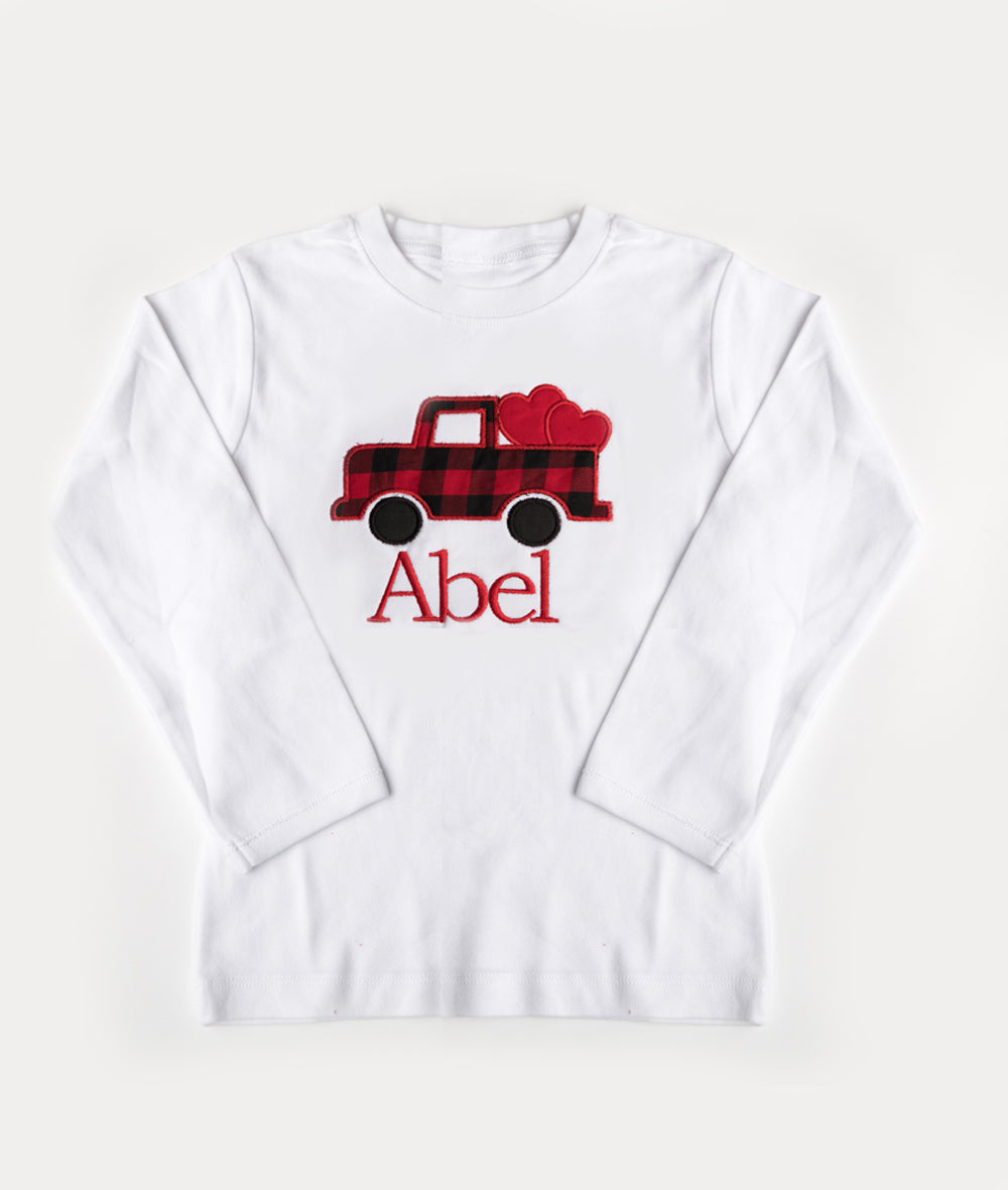 Copy of Red Check Heart Truck & Red Name Shirt or Onesie