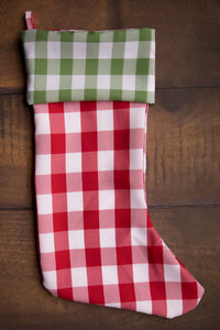 Green Gingham & Red Gingham Stocking