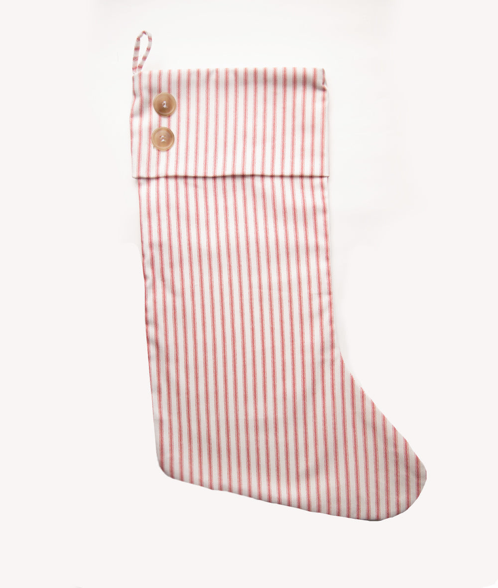 Red Ticking Stripe Stocking