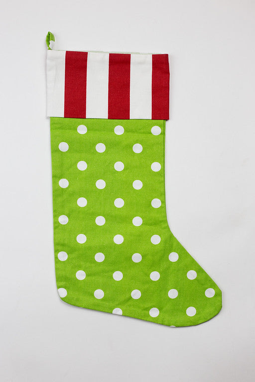 Red Stripe & Green Dot Stocking