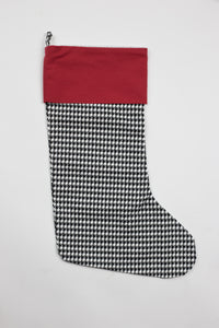 Red Cuff & Black Houndstooth Stocking