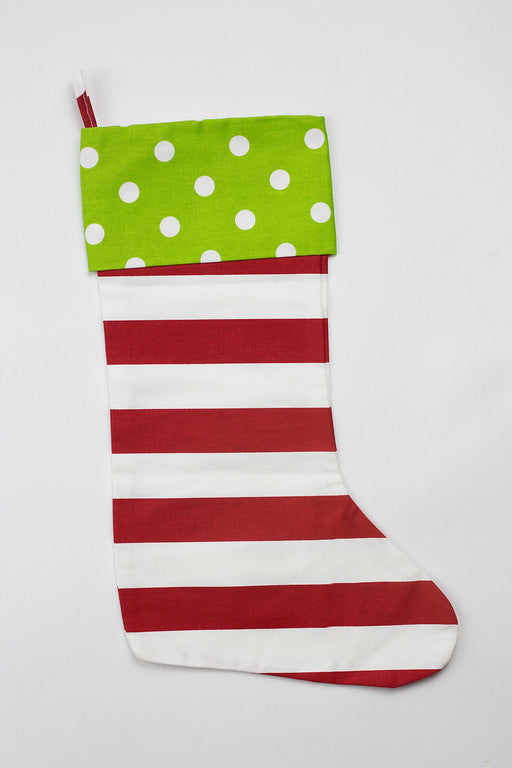 Green Dot & Red Stripe Stocking