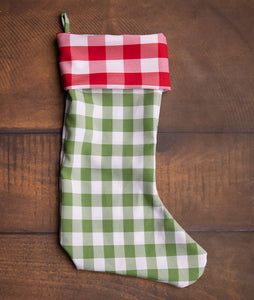 Red Gingham & Green Gingham Stocking