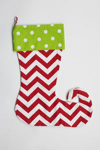 Green Dot & Red Chevron Elf Toe Stocking