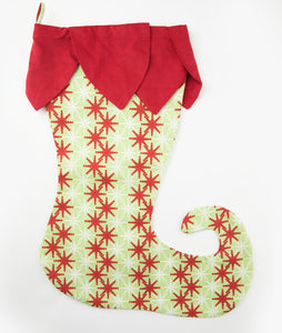 Red Petal & Snowflake Elf Toe Stocking