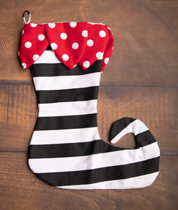 Red Dot Petal & Black Stripe Bottom Elf Toe Stocking