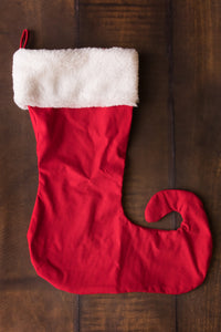 White Fur Band & Red Bottom Elf Toe Stocking