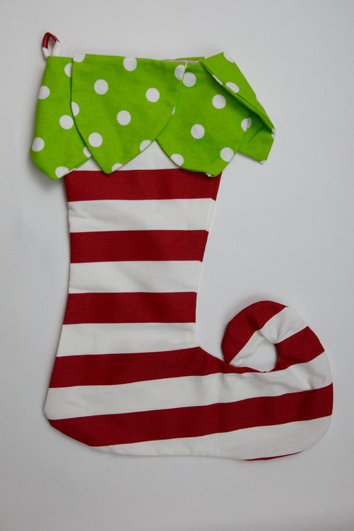 Green Dot Petals & Red Stripe Elf Toe Stocking