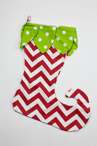Green Dot Petals & Red Chevron Elf Toe Stocking