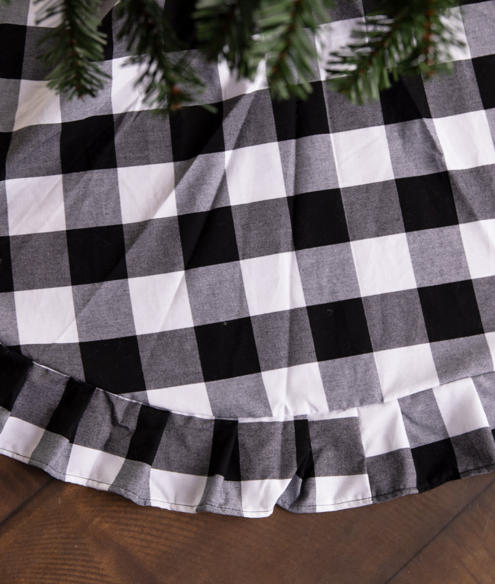 Black Buffalo Plaid Tree Skirt