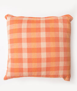 Orange & Cream Plaid Pillow Cover