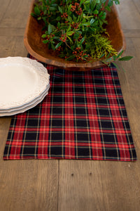 Navy & Red Plaid Reversible Table Runner