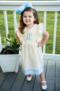 Yellow Seersucker & Blue Gingham Monogrammed Pinafore Dress