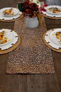 Tan & Brown Leopard Print Reversible Table Runner