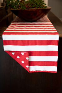 Red Stripe & Dot Reversible Table Runner