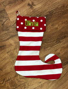 Red Dot & Stripe Elf Stocking