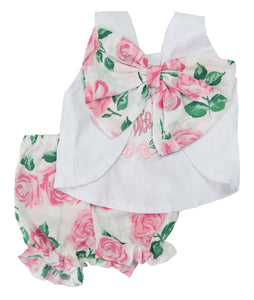 White & Pink Rose Personalized Lexie Top & Bloomer