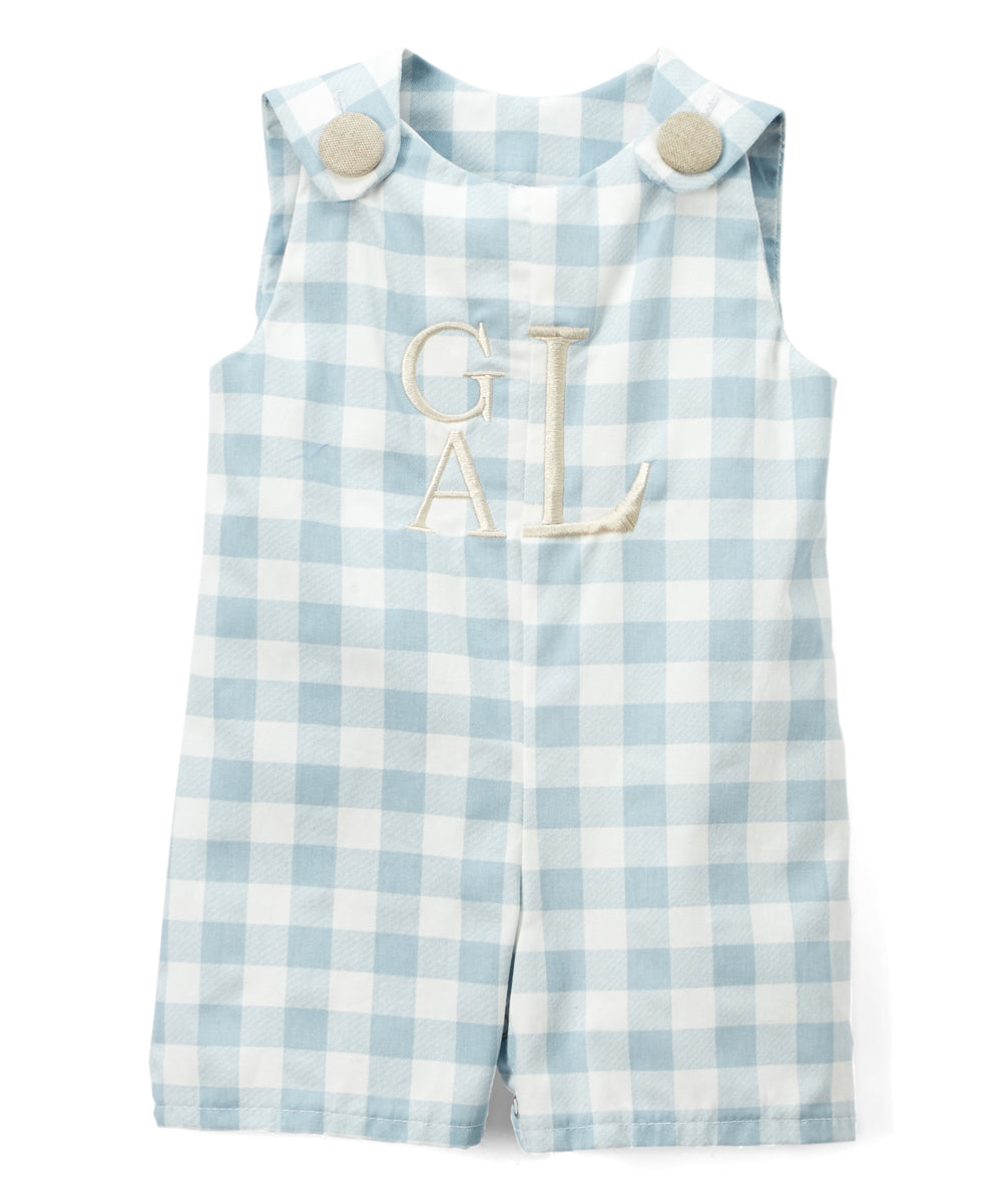 Fog Gingham & Tan Initials Shortall