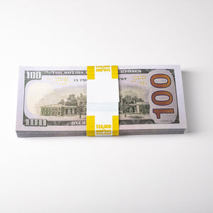 Movie Prop Money (fake money) -  $10,000 - Stack (100 Bills) of $100