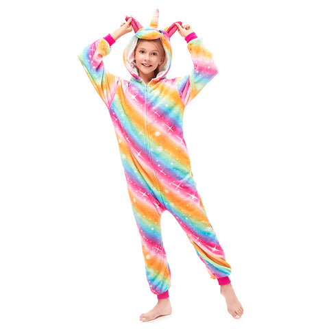 Girls Pajamas With Stripe Unicorn